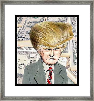 Caricature Of Donald Trump Framed Print by Jim Fitzpatrick