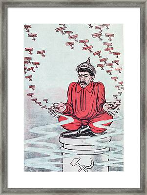 Caricature Of Stalin Framed Print by Adrien Barrere