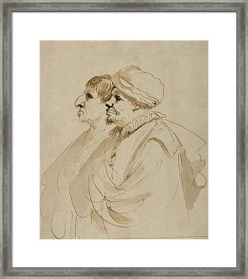 Caricature Of Two Men Seen In Profile Guercino Giovanni Framed Print by Litz Collection