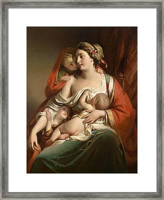 Caritas Framed Print by Friedrich von Amerling