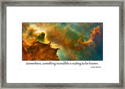 Carl Sagan Quote And Carina Nebula 2 Framed Print by Jennifer Rondinelli Reilly - Fine Art Photography