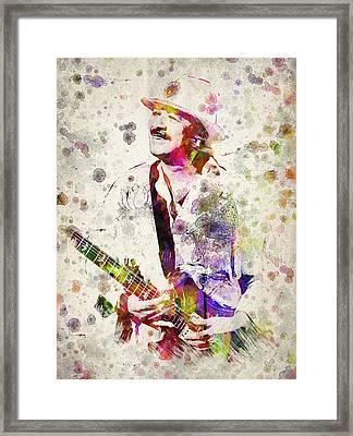 Carlos Santana Framed Print by Aged Pixel