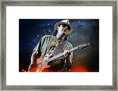 Carlos Santana On Guitar 2 Framed Print by Jennifer Rondinelli Reilly - Fine Art Photography
