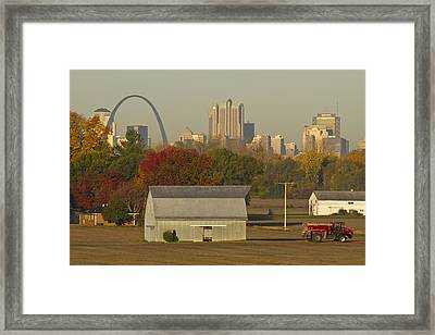 Carls Barn And The Arch Framed Print
