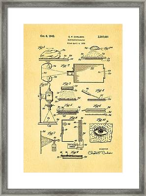Carlson Electrophotography Xerography Patent Art 1942 Framed Print by Ian Monk