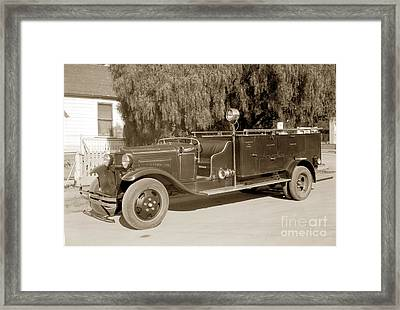 Carmel Fire Department Engine No. 3  Circa 1933 Framed Print by California Views Mr Pat Hathaway Archives