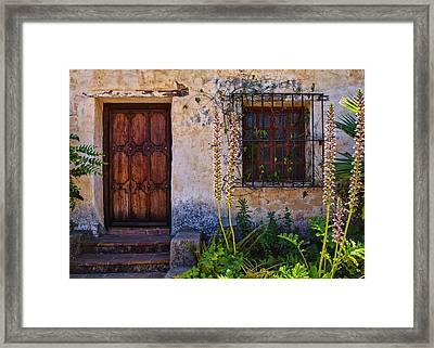 Carmel Mission Living Quarters Framed Print