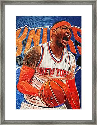 Carmelo Anthony Framed Print by Taylan Apukovska
