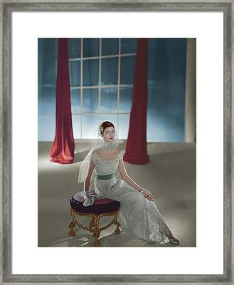 Carmen Dell'orefice Sitting On A Stool Framed Print by Horst P. Horst