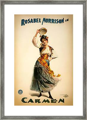 Antique Theatre Poster - Carmen 1898 Framed Print by Mountain Dreams