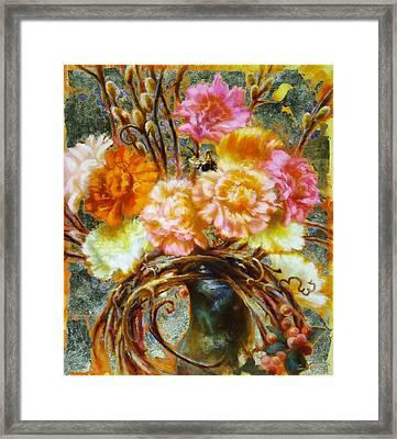 Carnation And Bee Framed Print by John Murdoch