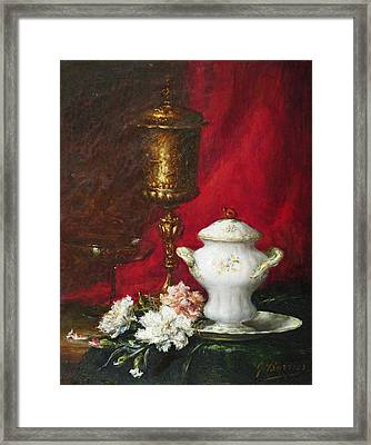 Carnations And Sugar Bowl Framed Print by David Lloyd Glover