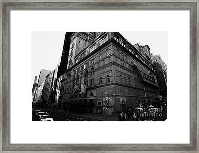 Carnegie Hall On Corner Of West 57th St And 7th Avenue New York City Framed Print by Joe Fox