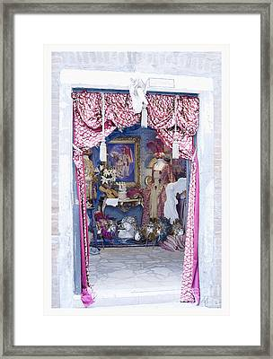 Framed Print featuring the digital art Carnevale Shop In Venice Italy by Victoria Harrington