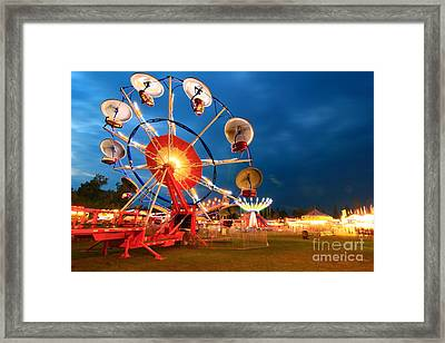 Carnival And Ride At Night. Framed Print by Daniel J Ruggiero