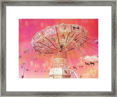Carnival Ferris Wheel Hot Pink Surreal Fantasy Ferris Wheel Carnival Art Hot Pink Framed Print by Kathy Fornal