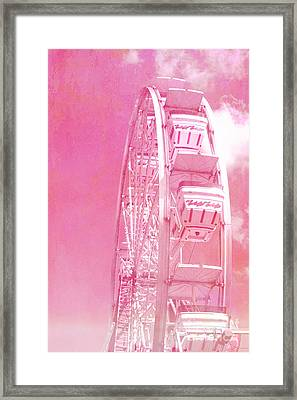Carnival Festival Baby Pink Ferris Wheel - Hot Pink Carnival Festival Ferris Wheel White Clouds Framed Print by Kathy Fornal