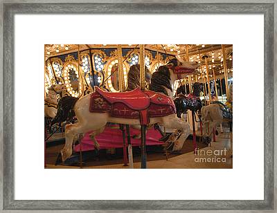 Carnival Festival Merry Go Round Carousel Horses  Framed Print by Kathy Fornal