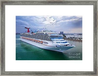 Carnival Glory Leaving Miami Framed Print by Rene Triay Photography