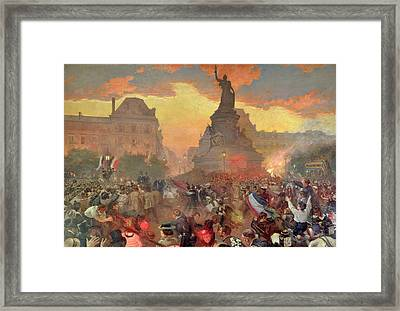 Carnival In Paris In Honour Of The Russian Navy, 5th October 1893, 1900 Oil On Canvas Framed Print by Leon Bakst