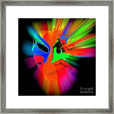 Carnival Mask In Abstract Framed Print