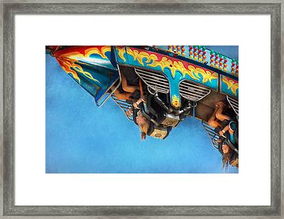 Carnival - Ride - The Thrill Of The Carnival  Framed Print by Mike Savad
