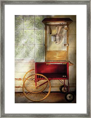 Carnival - The Popcorn Cart Framed Print by Mike Savad