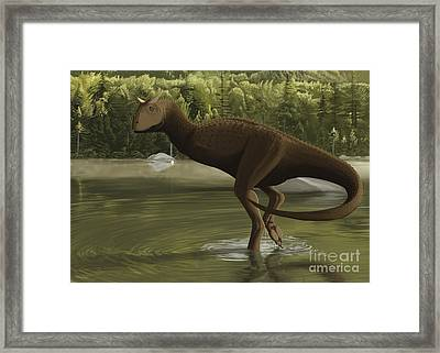 Carnotaurus Searching For Food Framed Print