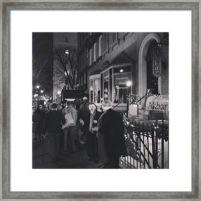 Framed Print featuring the photograph Carolers On North Charles Street December 2013 by Toni Martsoukos