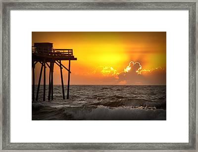 Carolina Beach Fishing Pier Sunrise Framed Print