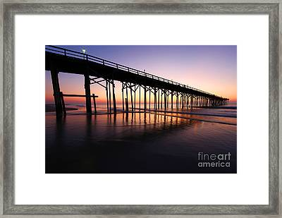 North Carolina Beach Pier - Sunrise Framed Print