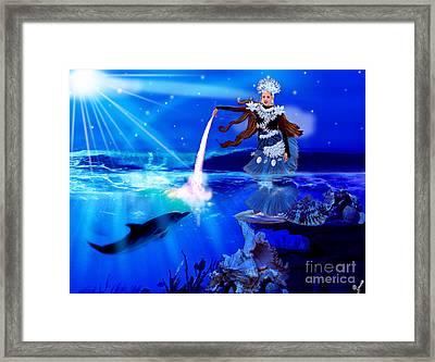 Carolina Kostner As Beautiful Sea Princess Framed Print by Artist Nandika  Dutt