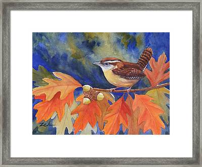 Carolina Wren In Autumn Framed Print by Janet  Zeh