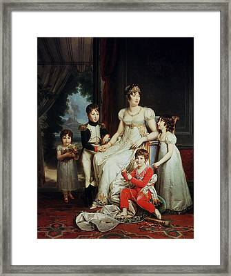 Caroline Bonaparte 1782-1839 And Her Children Oil On Canvas Framed Print by Francois Pascal Simon, Baron Gerard
