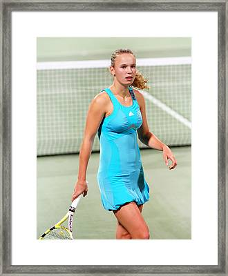 caroline wozniacki in Doha Framed Print by Paul Cowan