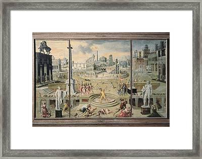 Caron, Antoine 1521-1599. The Massacre Framed Print