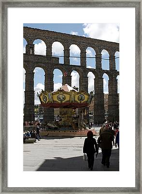 Carousel And Aqueduct Framed Print by Lorraine Devon Wilke