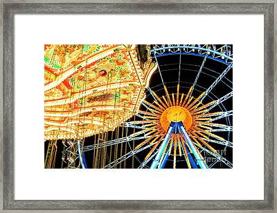 Carousel And Ferries Wheel At Night At The Octoberfest In Munich Framed Print