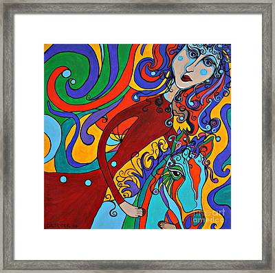 Framed Print featuring the painting Carousel Dance by Alison Caltrider