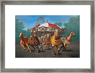Framed Print featuring the painting Carousel Escape At The Park by Jason Marsh