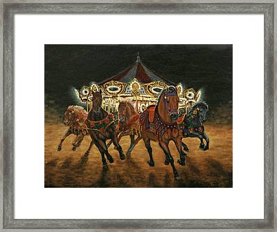 Framed Print featuring the painting Carousel Escape At Night by Jason Marsh