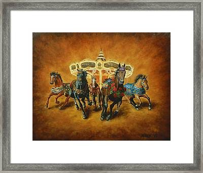Framed Print featuring the painting Carousel Escape by Jason Marsh
