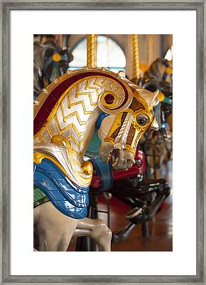 Colorful Carousel Merry-go-round Horse Framed Print