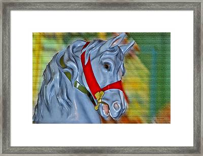 Carousel Horse Red Bridle Framed Print by Thomas Woolworth