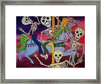 Carousel Horses And Skeletons Framed Print