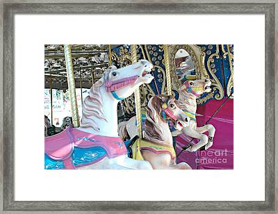 Carousel Horses - Dreamy Baby Pink Carousel Merry Go Round Horses  Framed Print by Kathy Fornal