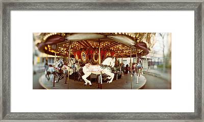 Carousel Horses In An Amusement Park Framed Print by Panoramic Images