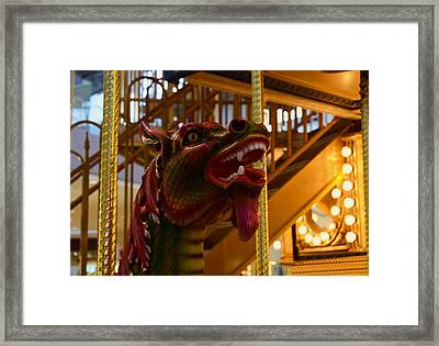 Framed Print featuring the photograph Vintage Carousel Red Dragon - 2 by Renee Anderson