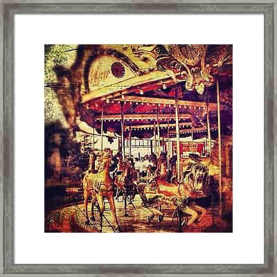 #carousel #ride #fun #amusement #horse Framed Print