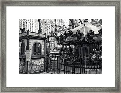 Carousel Tickets Mono Framed Print by John Rizzuto